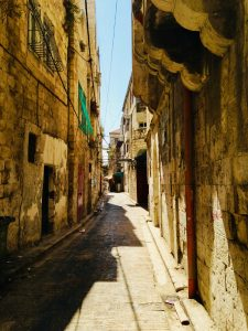 narrow pathway in city center Nablus
