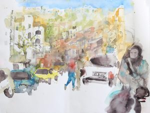 painting showing the streets in Al-Salt