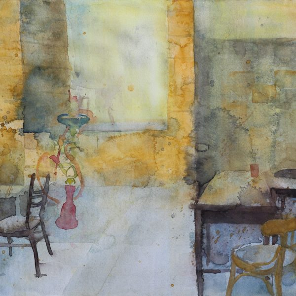 painting showing a cafe with chairs, tables and shisha arabic style